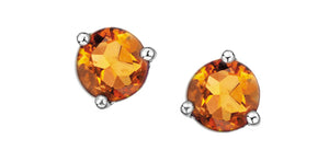 Genuine 5mm Citrine  Stud Earrings  10k white gold