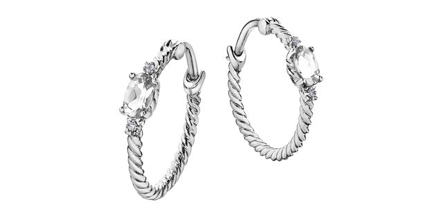 White Topaz & Diamond Hoop Earrings  10k White Gold