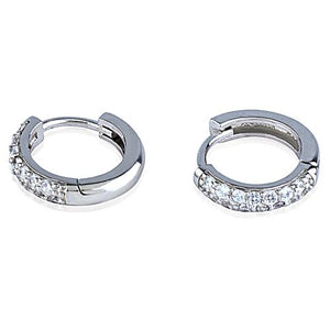 Silver Huggie Earrings With CZ