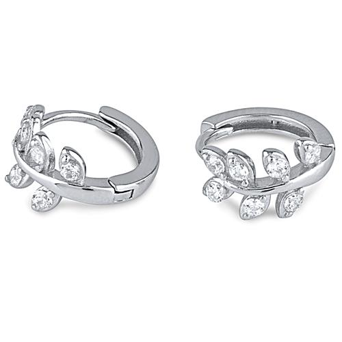 Silver Olive Leaf Huggie Earrings With CZ