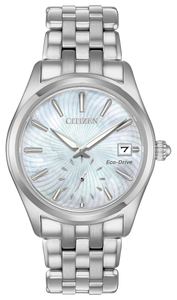 Citizen Eco Drive Watch Silver Tone With MOP Face With Sub Sweep Second Hand and Date
