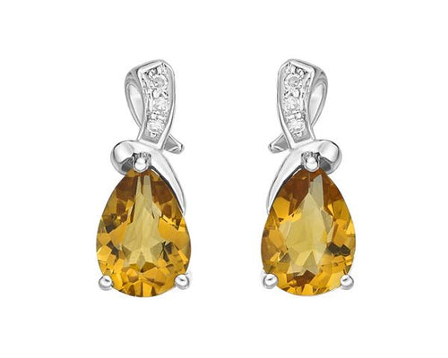Citrine & Diamond Post Earrings 10k White Gold