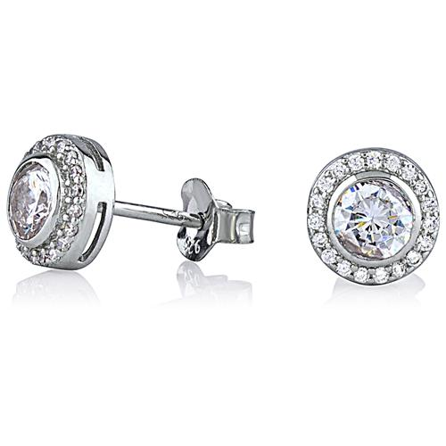 Silver Round Halo Stud Earrings With CZ