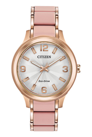 Pink & Rose Tone Eco Drive Watch