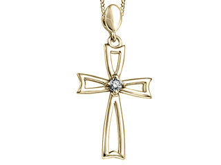 Canadian Diamond Cross Pendant  Comes with 18in chain  10 Yellow Gold  0.062ct /I-1clarity /H colour
