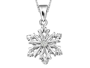 Canadian Diamond Snowflake Pendant  Comes with 18in chain  10k White Gold  0.031ct I-1/G/G