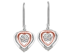 Canadian Diamond Pink & White Heart Earrings  Diamond info: 0.10ct. each, Total weight 0.24ct./I-1 clarity/I colour/Good cut  10K yellow and rose gold