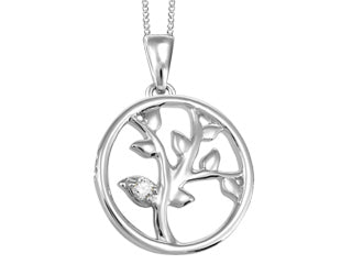 White Gold Tree of Life with Canadian Diamond Pendant