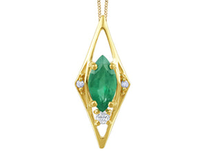 Genuine Emerald & Canadian Diamond Pendant  Comes with 18in chain  10k Yellow Gold  Diamond info: I1/G/G