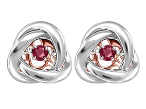 Genuine Garnet Motion Earrings  Silver & 10K Rose gold