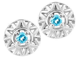 Genuine Blue Topaz Stud Earrings  10K White Gold