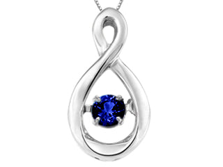 Genuine Blue sapphire motion pendant  Comes with 18in chain  Sterling silver