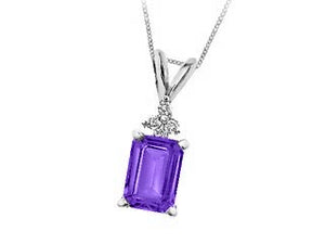 Genuine Amethyst & Genuine Diamond Pendant  Comes with18in Chain  10k White Gold