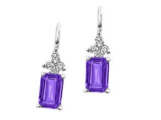 Genuine Amethyst & Genuine Diamond Lever Back Earrings  10k White Gold