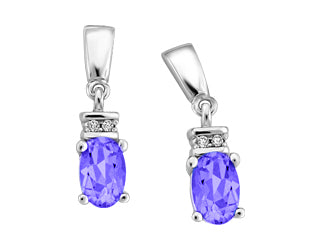 Genuine Tanzanite & Genuine Diamond Earrings