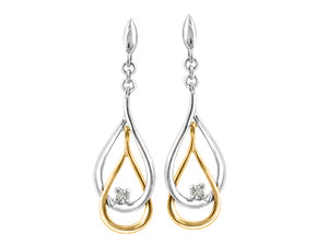 Canadian Diamond 2 Tone Drop Earrings  10k Yellow and White Gold