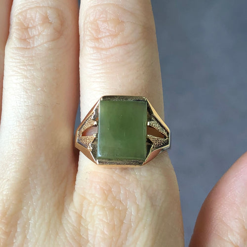 Jade Ring  10K Yellow Gold  Size 8.5