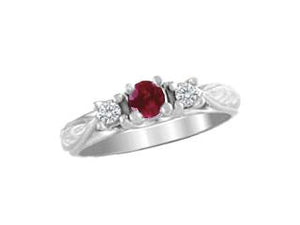 Ruby and Diamond Filigree Ring
