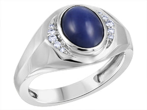 Genuine Blue Star Sapphire & Genuine Diamond Ring