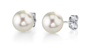 Akoya Pearl Stud Earrings 14K White Gold 6mm