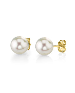 Akoya Pearl Stud Earrings 14K Yellow Gold 6mm