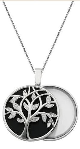 Tree Of Life Mirror/Magnifying Glass w/CZ w/38in Bolo Chain Rhodium Plated Brass