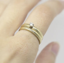 Load image into Gallery viewer, Diamond Solitaire Engagement Ring with Milgrain Edge