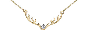 Canadian Diamond Antler Necklace  10K Yellow Gold  0.04ct Genuine Diamond