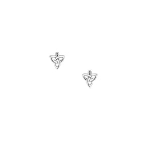 Silver celtic trinity post earring with diamonds