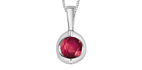 Ruby Pendant with chain 10K White Gold