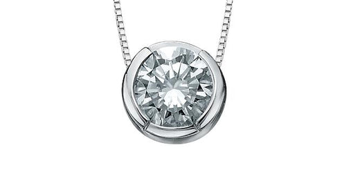 0.10ct Canadian Diamond Pendant with chain 10K White Gold Cert