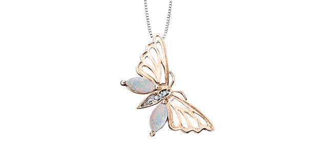 Opal & Diamond Butterfly Pendant  set in 10k Rose Gold