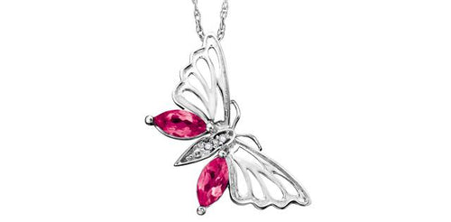 Pink Topaz and Diamond Butterfly Pendant
