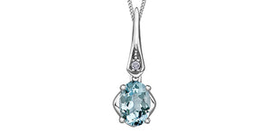 Genuine Aquamarine & Genuine Diamond  Comes with 18in chain  10k white gold