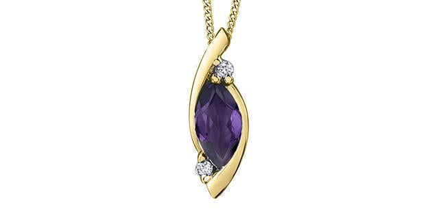 Genuine Marquise Amethyst & Diamond Pendant 10K Yellow Gold w/18in Chain