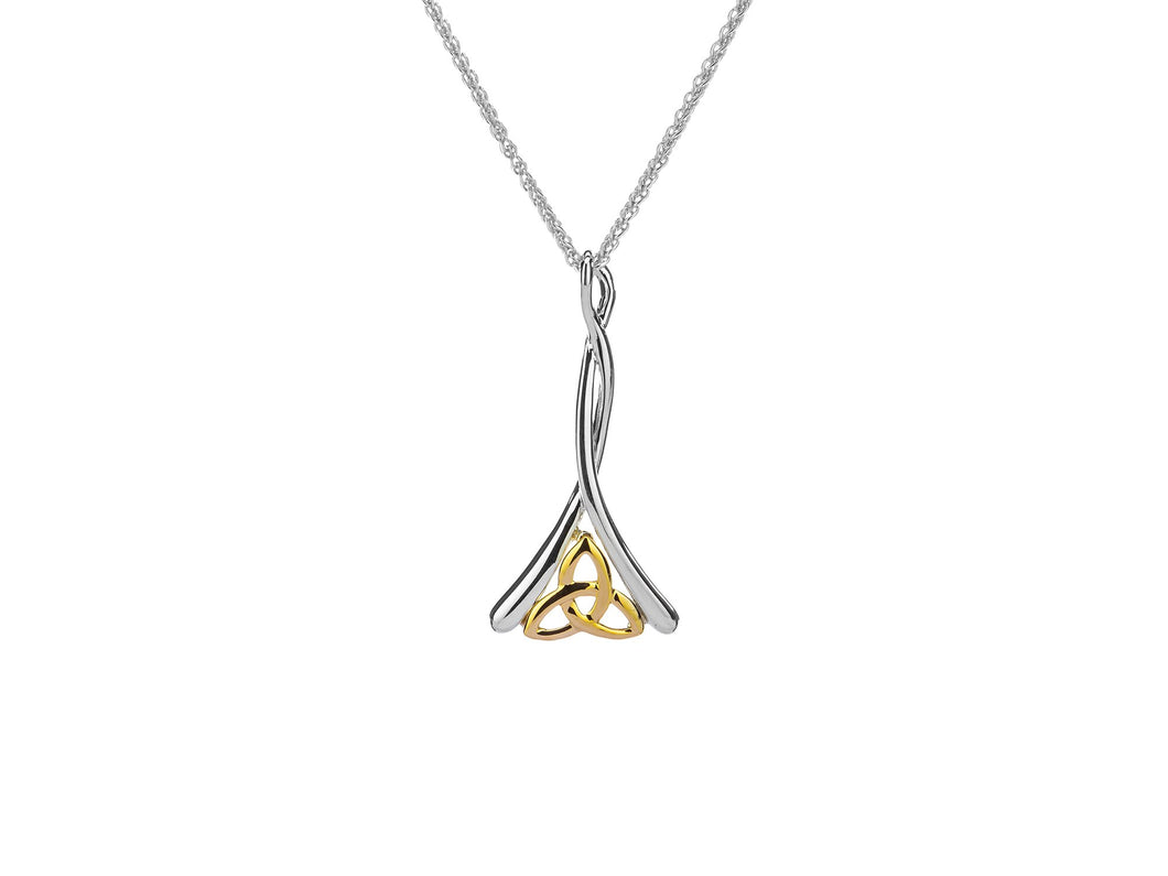 silver and 10k yellow gold celtic trinity pendant with chain