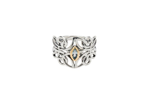 Blue Topaz Guardian Angel Ring