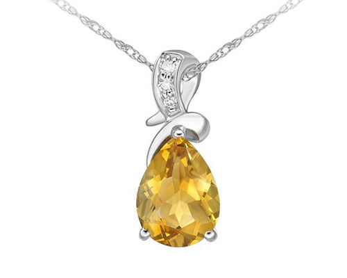 Citrine & Diamond Pendant with chain  10k White Gold