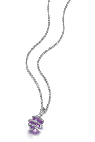 Genuine Amethyst and Cubic Zirconia  Sterling Silver Pendant  Comes on a 18in Sterling Silver Chain