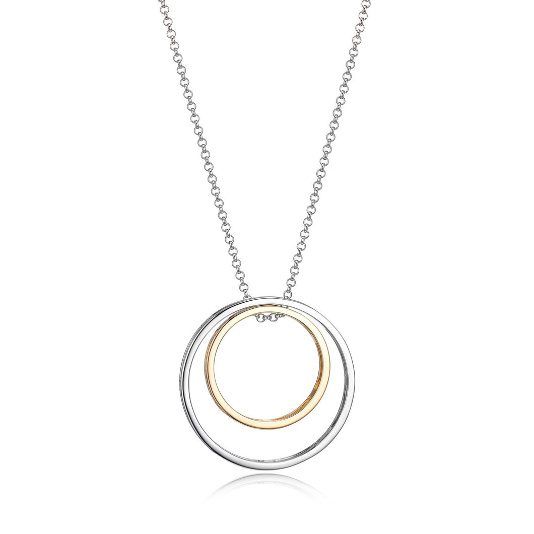 Two Tone Double Circle Pendant W/ Chain 30+2 Inch