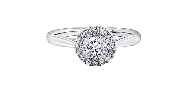 Canadian Center Diamond Double Halo Ring  14K white gold  Diamond info:  Center: 0.34ct./I-2 clarity/H colour/very good cut  Side Stone: 0.25ct./I-2 clarity/H-J colour/good cut;