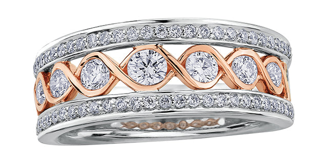 Canadian Diamond  14k Rose and White Gold  Comes with Diamond Certificate ring