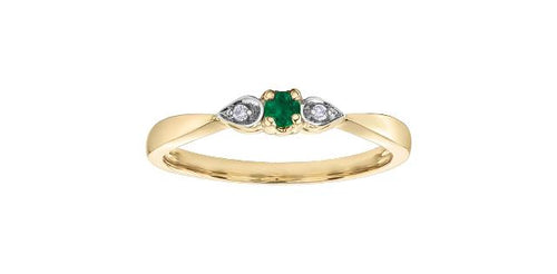 2.5mm Emerald and Diamond Ring 10k Yellow Gold