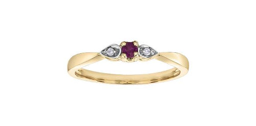 6.5 Ruby and Diamond 10K Yellow Gold Ring