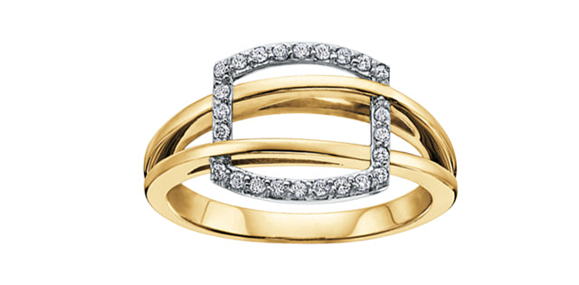 Diamond Buckle Ring  0.15ct.  10K yellow gold