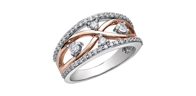 Canadian Diamond Ring  14K Rose & White Gold  Comes with Diamond Certificate