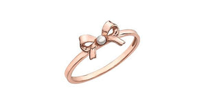 6.75 Fresh Water Pearl Bow Ring 10K Rose Gold