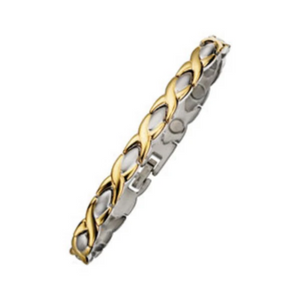 8.75in Length  Two Tone Magnetic Bracelet consists of two tone links, bright yellow with brushed stainless steel, link width is 7mm. Links can be removed to shorten the bracelet. Clasp is solid link, single channel.