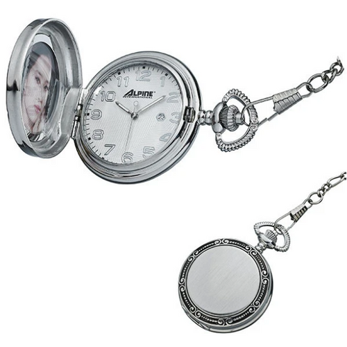 Locket Style Quartz pocket watch with chain  This features a 3 hand Japanese movement, a steel case, a photo frame, and an engravable back.