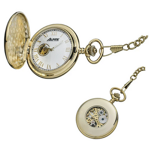 Manual Wind Pocket Watch in Gold Tone  Comes with chain.